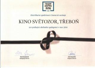 Kino Světozor Třeboň má certifikát DOBRÉHO KINO