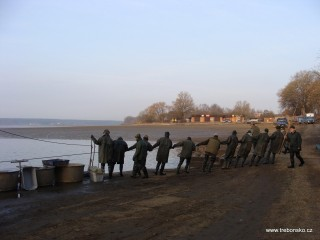 Část lovící party rybářů - pěšáci táhnou provaz od nevodu podél kádiště.