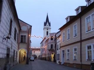Březanova ulice a věž kostela P. M. Královny a sv. Jiljí