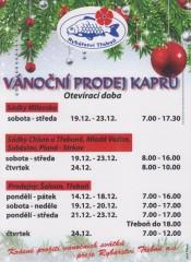 Vánoční prodej kaprů Rybářství Třeboň
