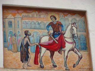 Svatý Martin se dělí o plášť - detail