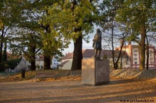 Jakub Krčín z Jelčan, socha na hrázi Světa