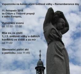 Vzpomínka na konec 1. světové války - Rememberance day