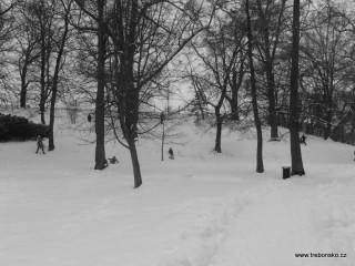 Zámecký park v zimě - pohled na hráz Světa